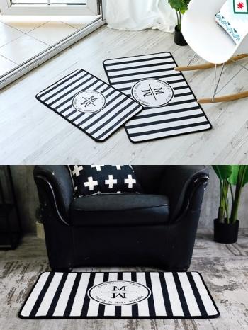 【Z534050】(小號)幾何線條字母黑白風格地墊/地毯/腳踏墊/防滑墊-Lightly