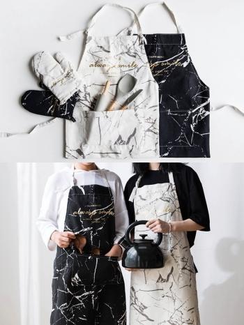 【Z538087】(圍裙)時尚燙金大理石紋造型烘焙男女圍裙-Lightly