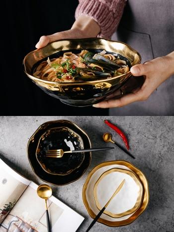 【Z538094】(大號)復古不規則紋路描金邊大碗公/陶瓷碗/湯碗/泡麵碗/飯碗-Lightly