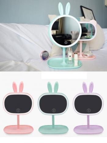 【Z536056】超萌粉色寵物造型多功能LED燈化妝鏡/鏡子/美容鏡/梳妝鏡-Virtuous