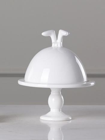 【Z532211】(蓋頂蛋糕盤)純白創意精緻兔子陶瓷盤/收納盤/蛋糕盤/裝飾擺件-Variety