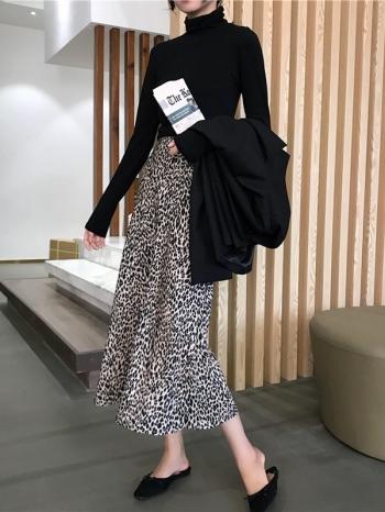 【Z514080】時髦豹紋高腰A字裙/及膝裙/半身裙/中長裙/休閒裙-Aditi