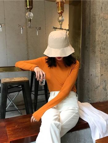 【Z518309】純色貼身高領長袖上衣/長袖T恤/打底衫-Aditi