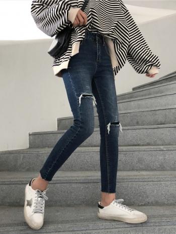 【Z512183】仿破舊抓破刷色高腰牛仔褲/單寧褲/貼身褲/休閒褲/長褲-Andrea