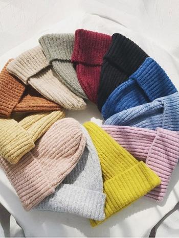 【Z517047】純色針織坑條尖頭毛帽/針織帽/毛線帽(多色可選)-Elfin