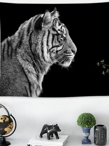 【Z533272】(小)個性黑底動物印花掛布/掛畫/掛旗/桌布/牆面裝飾/拍攝道具-Beautifully
