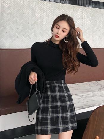 【Z514085】經典格紋造型短裙/A字裙/半身裙/迷你裙-Diamond