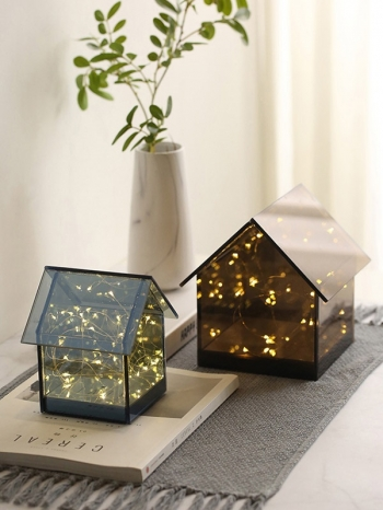 【Z533333】(大號)暖心小房屋造型銀花LED燈/小夜燈/燈飾/裝飾擺件-Dazzle
