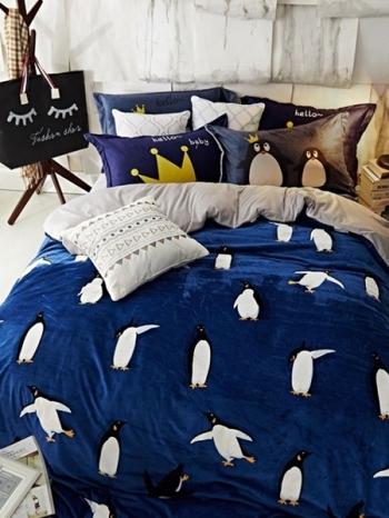 【Z433022】(加大雙人床適用)可愛圖案舒適法蘭絨床單/被套兩用被/寢具組/枕套四件組-Jeune