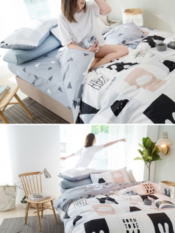 【Z433295】(加大單人床適用)溫馨柔和風格床包床笠/被套/枕套四件組/寢具組-Leap