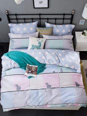 【Z433103】(加大雙人床適用)可愛風床單/被套/寢具組/枕套四件組-Great