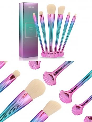 【Z635001】炫彩貝殼化妝刷具組/美容用具/彩妝刷(6件組)-Expect