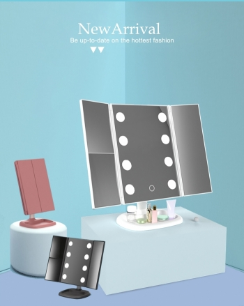 【Z635006】折疊防塵LED大燈泡化妝鏡/梳妝鏡/立鏡/美容鏡/公主鏡-Vitality
