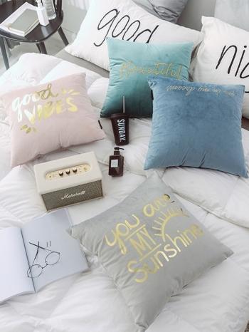 【Z634012】ins北歐風燙金字母純色絨毛抱枕/靠枕/沙發枕/腰枕-Vitality