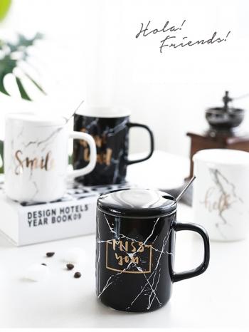 【Z638022】黑白大理石紋燙金字含蓋馬克杯/咖啡杯/陶瓷杯-Memory