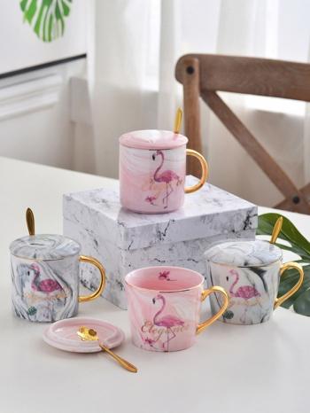【Z638035】(金把對杯)夏日紅鶴大理石紋陶瓷對杯禮盒/馬克杯/牛奶杯/杯子-Memory
