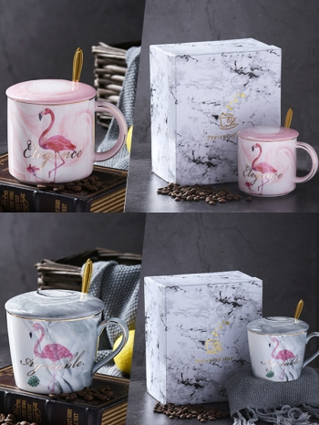 【Z638038】(瓷把單杯)夏日紅鶴大理石紋陶瓷馬克杯禮盒/牛奶杯/水杯/杯子(單個販售)-Memory