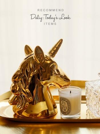 【Z636023】ins獨角獸造型鍍色陶瓷公仔/存錢筒/儲蓄罐/擺件/拍照道具-Memory