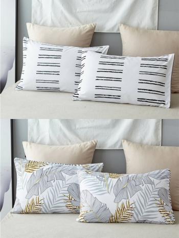 【Z634019】磨毛簡約大理石紋以及植物印花枕頭套/枕芯套(成對販售)-Joyful