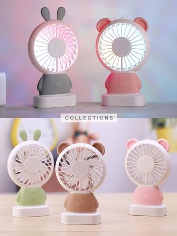 【Z639006】可愛迷你動物造型彩燈攜帶式電扇/風扇/迷你風扇/USB小電扇-Joyful