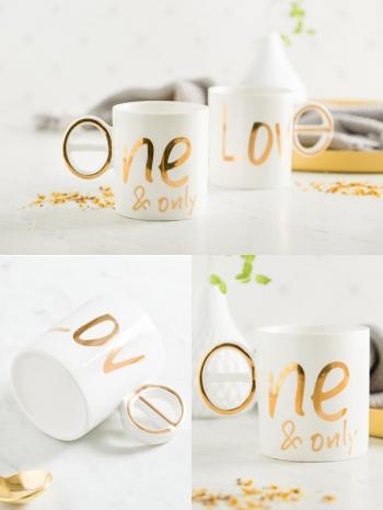 【Z638045】創意杯耳設計LOVE燙金字母馬克杯/牛奶杯/水杯/杯子-Joyful