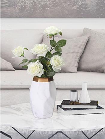【Z632062】(小)幾何大理石紋金邊橄欖花瓶/陶瓷瓶/花器/花筒-Joyful