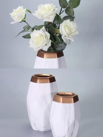 【Z632063】(大)幾何大理石紋金邊橄欖花瓶/陶瓷瓶/花器/花筒-Joyful