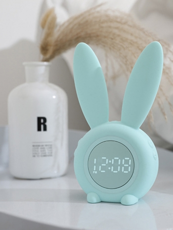 【Z639009】萌兔耳朵造型多功能夜燈鬧鐘/時鐘/貪睡鬧鐘-Joyful