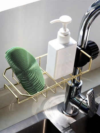 【Z632067】廚房衛浴用水龍頭鐵藝收納籃/置物籃/收納架-Joyful
