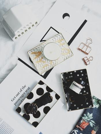 【Z632069】chic燙金造型陶瓷首飾盤/陶瓷盤/收納盤/糖果盤/托盤-Joyful