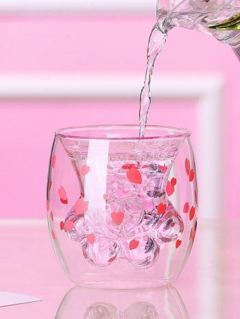 【Z638051】可愛創意櫻花粉貓爪杯/貓咪杯/玻璃杯/雙層杯-Joyful