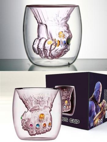 【Z638052】薩諾斯創意無限手套杯/雙層杯/玻璃杯-Joyful