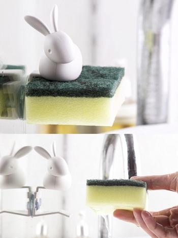 【Z638053】兔子造型廚房用海綿收納夾/菜瓜布收納架-Joyful