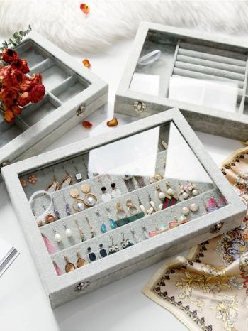 【Z632077】北歐風灰色絨布質感含蓋收納首飾盒/收納盒/收納盤/珠寶盒/飾品盒/飾品盤-Brightfuture