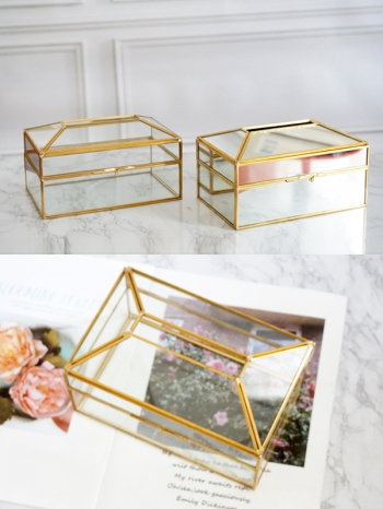 【Z632078】歐式貴族風銅條金邊玻璃鏡面衛生紙盒/面紙盒/收納盒-Brightfuture