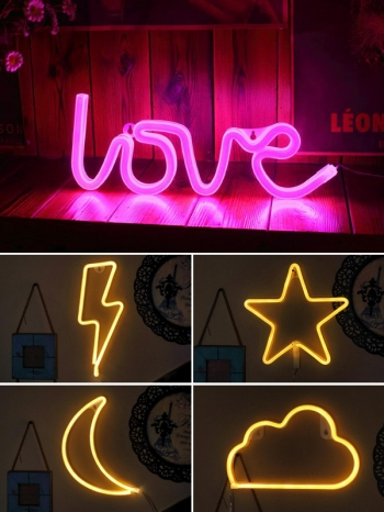 【Z633070】浪漫霓虹燈造型星星月亮小夜燈/字母燈/床頭燈/LED燈-Brightfuture
