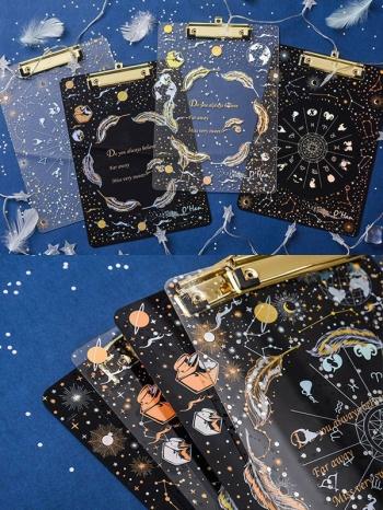 【Z636035】星空星座圖樣透明壓克力燙金A4板夾/文件夾/書寫版-Brightfuture