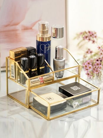 【Z632091】俐落金邊大格層及抽屜收納盒/置物盒/化妝品收納-Soft