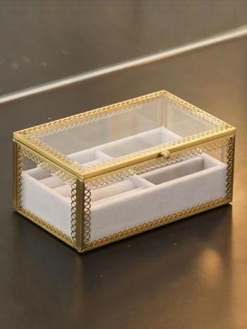 【Z632093】奢華銅條花金邊飾品收納珠寶盒/收納盒/置物盒-Soft
