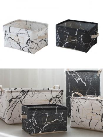 【Z632097】(小)黑白大理石紋設計防塵棉麻布質感收納籃/置物籃-Soft