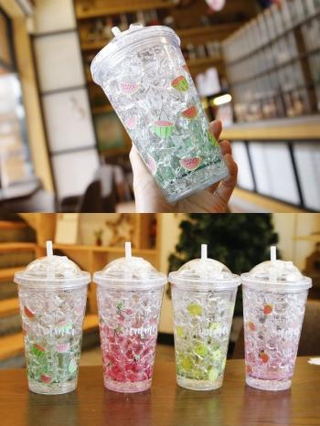【Z638058】夏日水果冰塊造型設計隨行杯/水杯/吸管杯/雙層杯/環保杯/杯子/保冷杯-Soft