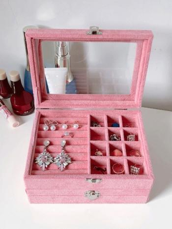 【Z632109】粉紅迷你多格層珠寶盒/首飾盒/飾品盒/收納盒-Soft