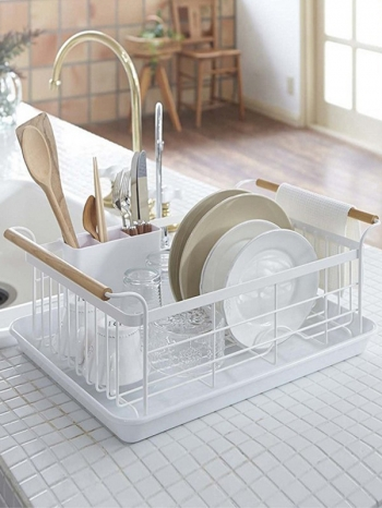 【Z632112】質感北歐風白色鐵藝碗碟瀝水籃/餐具收納/置物藍/碗盤架-Soft