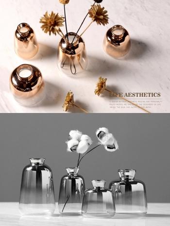 【Z633089】北歐風迷你漸層鍍金玻璃花器/花瓶/植栽容器-Soft