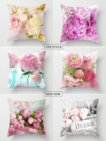 【Z634039】美式鄉村玫瑰花圖案抱枕/靠枕/枕頭-Soft
