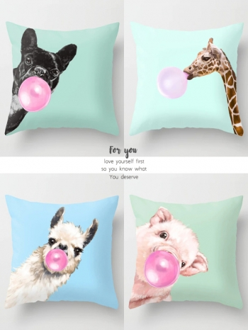 【Z634040】彩繪動物吹泡泡圖案抱枕/靠枕/枕頭-Soft