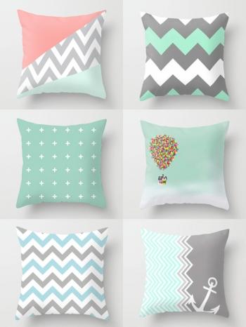【Z634041】幾何海洋風圖案造型桃皮絨抱枕/靠枕/枕頭-Soft