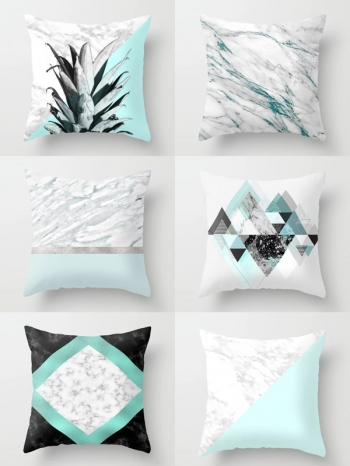 【Z634043】清新藍綠色石紋系列抱枕/靠枕/枕頭-Soft
