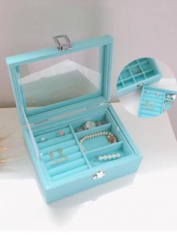 【Z632115】水藍色清新迷你雙層珠寶盒/首飾盒/飾品盒/收納盒-Soft