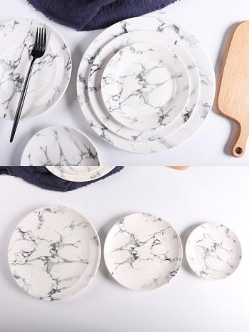 【Z638061】(小.中)歐風簡約黑白大理石紋陶瓷餐盤/圓盤/圓碟-Soft